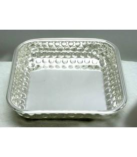 Ciotola Quadra Bordino Pallinata in Silver