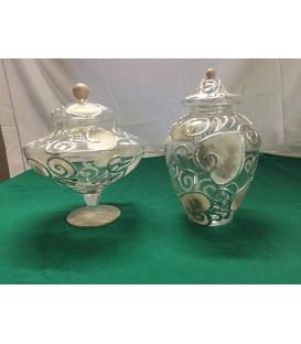 Vaso in cistallo con inserti in argento